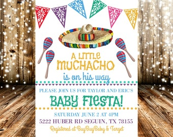 A Little Muchacho Is On The Way Fiesta Baby Shower Invitation
