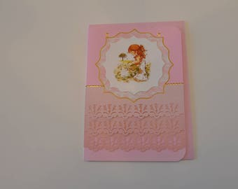 Card pink degraded with girl watering flowers