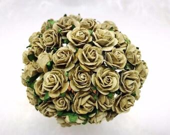 50 pcs. army green  Rose Mulberry Paper Flower Craft Handmade Wedding 15 mm Scrapbook #162