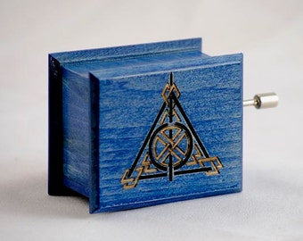 Harry Potter Deathly Hallows music box blue handmade wooden music box