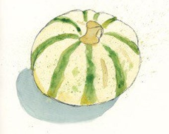 """Gourd, 6""""x6"""" print from an original watercolor and ink painting"""