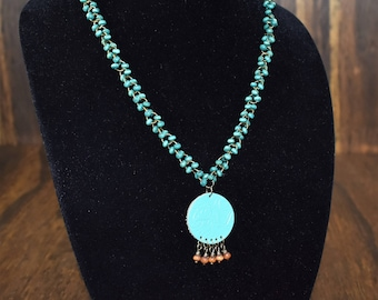 Teal Beaded Necklace with Leather Pendant