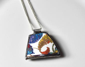Broken China Jewelry Pendant - Blue Yellow and Red Modern Floral