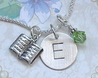Book Necklace - Book Hand Stamped Sterling Silver Initial Charm Necklace - Book Lover Gift - Personalized Silver Book Necklace