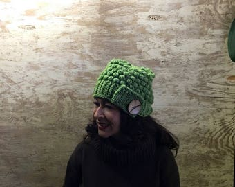 Puff Stitch Beanie Hat with Huge Coconut Button / Crochet Hat / Gifts