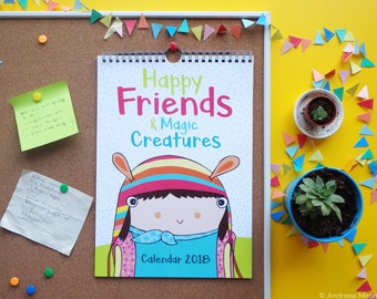 2018 Illustrated Wall Calendar, Funny Calendar 2018, Happy Kids Calendar, School Planner 2018, Inspiring Wall Calendar, Cute Calendar 2018
