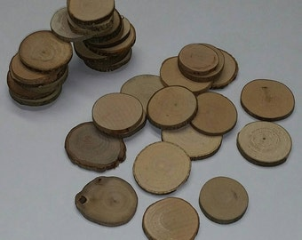 "10 Pieces of Small Natural Raw Wood Disc Slices w/Bark, 1.5"" Average Diameter x 3/16"" Thick (Fits FallsCityWoodworks Guestbook Alternative)"