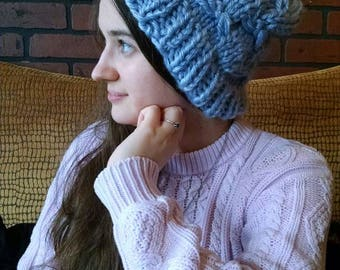 Made to Order - Dragonfly Beanie - Super Chunky Yarn Slouchy Hat - Adult Sizes