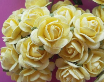 """100 Mulberry Paper Roses, Pale Yellow Rose, Card Making, Rose Embellishments, Yellow Paper Flowers, Yellow Paper Rose, 10-15mm/0.5"""""""
