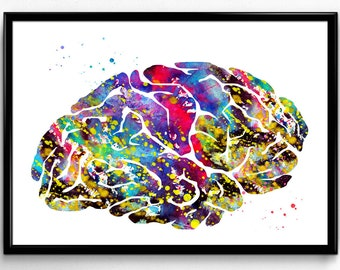 Human Brain Illustration, Biology, Science, Room Decor, Poster, Instant Download, gift, printable wall art (596)
