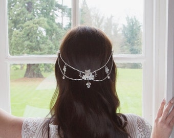 Bridal Hair Drape Crystal and Pearl Wedding headpiece