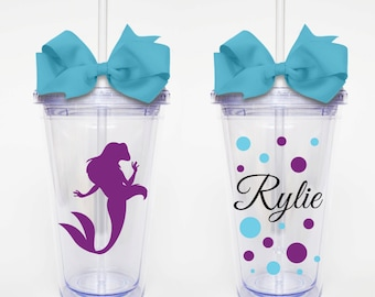 Disney Princess, Ariel, The Little Mermiad- Acrylic Tumbler Personalized Cup