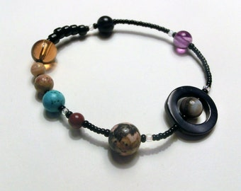 Elastic MiniVerse - Solar System Bracelet - Proportional Distances -  Planets - Stretchy Planet Bracelet - Chain of Being