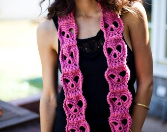 Hand Crocheted Classic Skull Scarf. Vegan Friendly Sugar Skull Scarf. Halloween. More Colors!