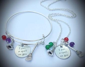 Hocus Pocus inspired adjustable bracelet and necklace set