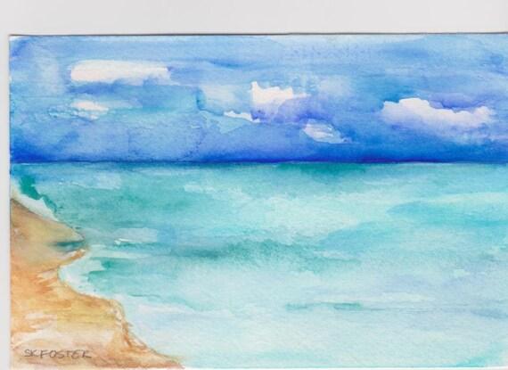 Acquerelli di paesaggi marini di Aruba pittura originale 4 x