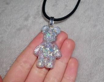 Pretty handmade sparkly silver teddy charm resin necklace