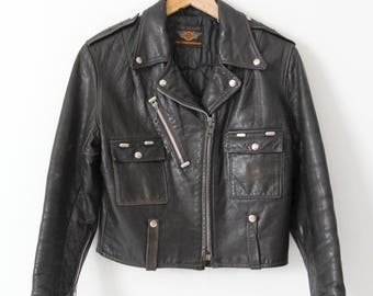 vintage Harley Davidson motorcycle jacket, Harley Cycle Champ leather jacket