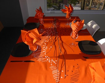 table cloth, tangerine linen and cotton, printed in white and plum