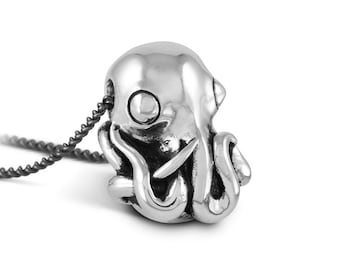 Octopus Necklace - Antique Silver Octopus Pendant - Octopus Jewelry