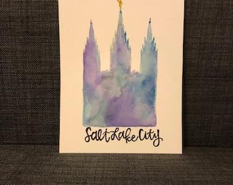 Salt Lake City LDS Temple - Handmade Watercolor LDS - Salt Lake City LDS Temple Watercolor
