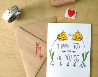 Thank You For All You Do - Thank You Card - Greeting Card