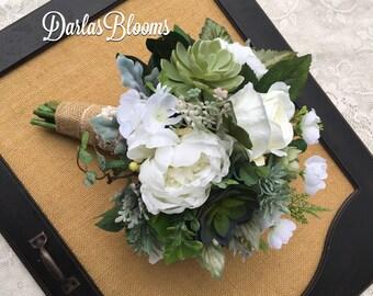 Wedding bouquet,Bridal bouquet,Succulent bouquet,Greenery Bouquet,Boho bouquet,Silk Wedding bouquet,Wedding accessory,Green & White bouquet