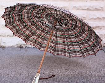 Earth Tone Plaid Vintage 30s Hans-Jordan Parasol Umbrella with Lucite Handle