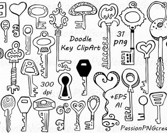 Doodle keys Clipart, Hand drawn Key, Digital key clip art, PNG, EPS, AI, vector, For Personal and Commercial Use