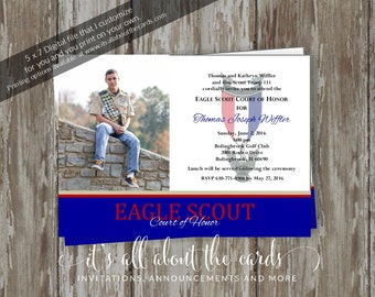 Eagle Scout Court of Honor Invitation-Commitment photo design-Digital File