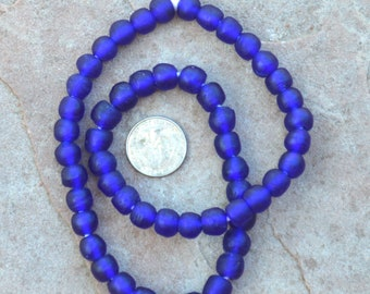 Ghana Glass Beads: Cobalt Blue 11mm