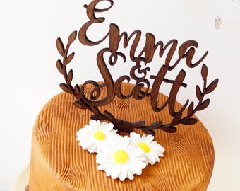 Rustic wedding cake topper, personalized cake topper, wooden cake topper, custom made names cake topper with leaf border design