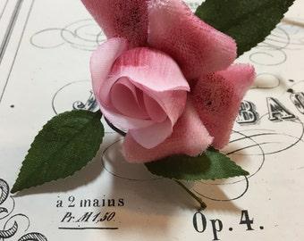 Gorgeous pink silk & velvet rose from Paris, France
