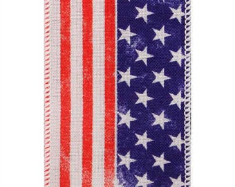 "2-1/2"" Wired Edge American Flag Ribbon - USA - 4th of July - Stars & Stripes - Red/White/Blue - 25 Yards - white"