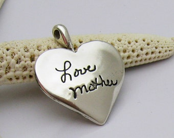 Double-Sided Silver Heart Pendant With Your ACTUAL Handwriting Personalized Keepsake Sentimental Memorial Jewelry for Mom Grandma Daughter