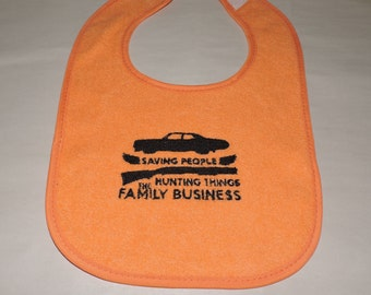 RTS Orange Bib Supernatural - Saving people, hunting things, the family business - Baby shower gift Nerdy baby Gifts Christmas gift
