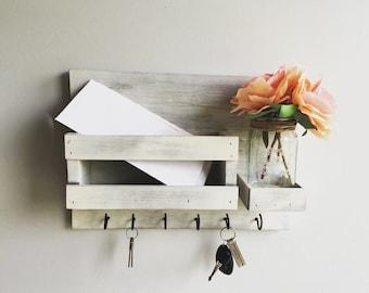Mail Organizer (Flowers Included) , Distress White Key & Mail Holder, Rustic Organizer, Mason Jar Decor, Farmhouse Decor