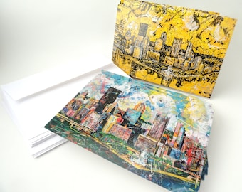 Pittsburgh  cards, Pittsburgh Skyline, Greeting Cards by artist Johno Prascak, Johnos Art Studio