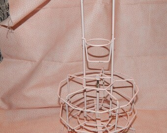Pink Rotating Wire Metal Display Caddy Carrier with divided compartments