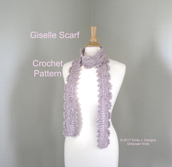 Lacy Scarf Crochet Pattern, Skinny Thin Scarf, Scallop Edge, Quick ...