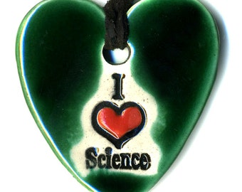I love Science Ceramic Necklace in Emerald Green