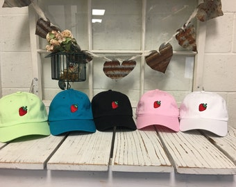 Strawberry Dad Hat Embroidered Fruit Baseball Cap Tumblr Hats, Hipster Cap Low Profile Curved Bill - Multiple Colors Gift for Her