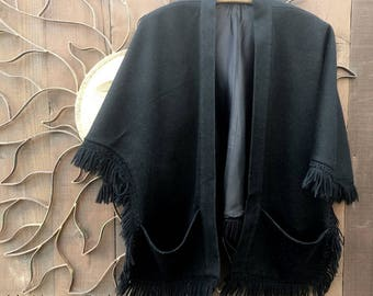 REDUCED, Vintage 1960's Black Wool Cape with Pockets, Bohemian, Gypsy, Costume, Festival Wear