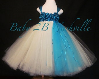 Flower Girl Dress Tulle Dress Tutu Dress Ivory Dress Baby Dress Toddler Dress Wedding Dress Turquoise Dress Party Dress Baby Girl Dress