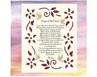 Prayer of St. Francis Inspirational Art Wall Art Paper Cut Design Border Birds Flowers 8X10 Unframed