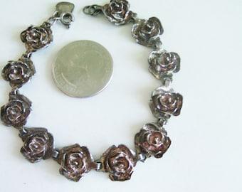 Antique / Vintage Sterling Rose Bracelet / Rose Bracelet / Sterling Bracelet / Silver Bracelet / Silver Link Bracelet / Link Bracelet
