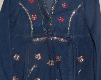 Denim Hand Painted Blouse Shirt Embellished Decorated Medium