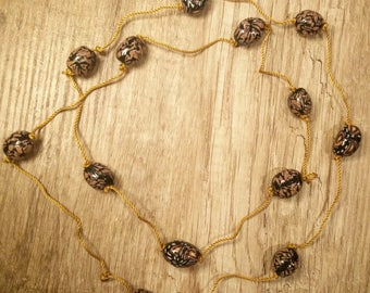 Long Beaded Necklace in Brown, Boho Bead Necklace