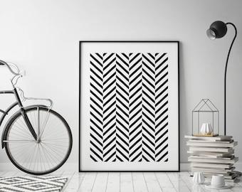 Geometric large wall art Chevrons striped print Black and White Minimalist art Abstract modern wall decor Minimal Scandinavian Trendy art