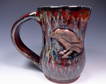 Raven Handmade Pottery Stoneware Mug fancy art glaze from Sidhefire Arts